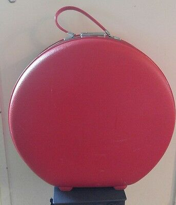 Vintage Round American Tourister Tiara Red Hat Box Train Case Hard Luggage Nice