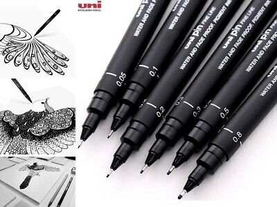 BLACK Uni Pin 200 Drawing Pin Pen Fine Liner 0.05mm - 0.8mm AUSSIE STOCK