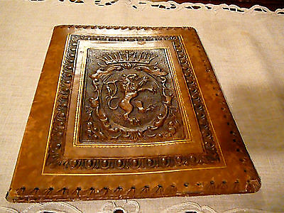 Rare-and-Beautiful-European-Vintage-Embossed-Leather-Book-Cover-amp-Hand-s
