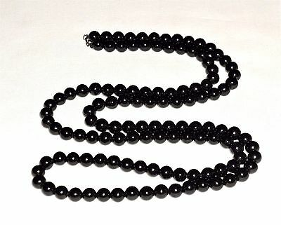 "ANTIQUE VICTORIAN  WHITBY JET VERY LONG BEADED 8mm NECKLACE 44"" MOURNING 76g"