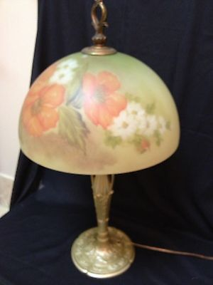 Antique Signed Art Nouveau Miller Reverse Hand Painted Table Lamp Large Flowers
