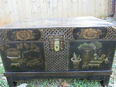 Rare 20th Century Chinese Lacquered Travel Trunk on Stand