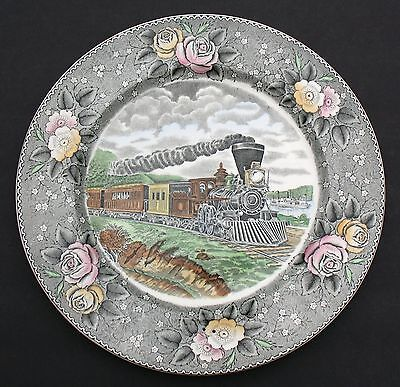 "Adams 10.5"" Plate ""american Ways & Days"" Currier""american Express Train"" England"