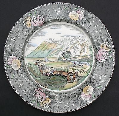 "Adams 10.5"" Plate ""american Ways & Days"" Currier ""the Rocky Mountains"" England"