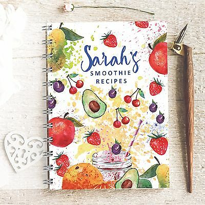 Personalised Recipe notebook Watercolour Smoothie, Drinks, Juices, Lovely Gift