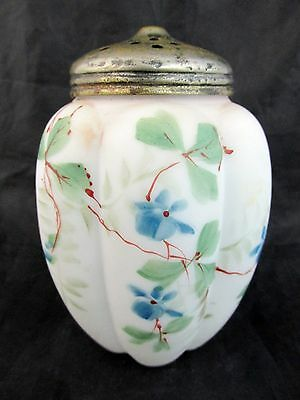 c1890 GILLINDER Art Glass SUGAR SHAKER Muffineer~~6 Panel MELON w/Blue Flowers