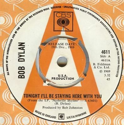 BOB DYLAN TONIGHT I'LL BE STAYING HERE WITH YOU DEMO CBS 60s   BEATLES