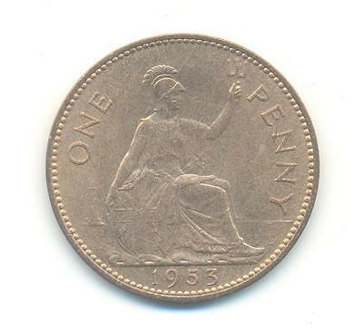 Very Rare.british.one Penny 1953.unc/bu.key Date. .very Collectable.b.89