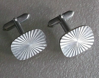 Vintage Cufflinks Metal Mens 1960's 1970's Mod Silvertone Star-Burst Cut Metal