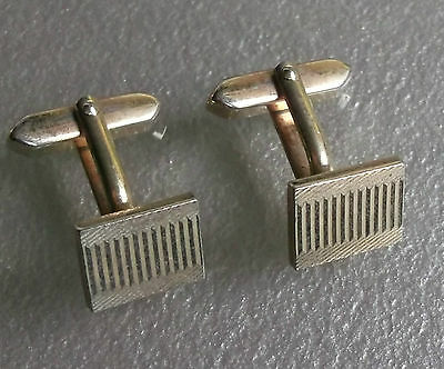 Cufflinks Vintage 1960's 1970's Pale Goldtone Metal Striped Pattern Retro Mod