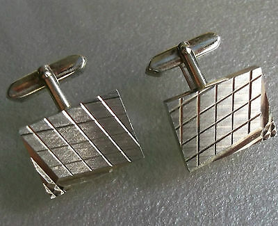 Vintage Cufflinks Metal 1960's 1970's Retro Mod Chunky Goldtone Grid Design