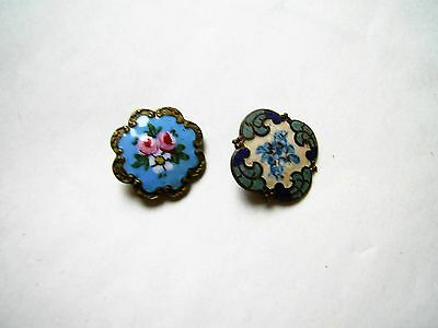 2 Genuine Antique Victorian Enamelled Brass Floral Butons