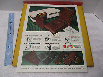 1947 BUXTON BILLFOLDS WALLET AD KEY-TAINERS Fathers Day Ad