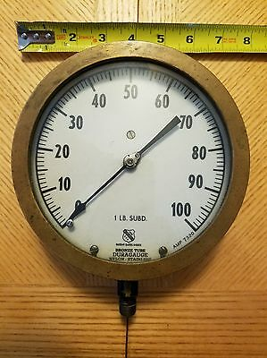 LARGE Vintage ASHCROFT Solid Brass Pressure Gauge Early 1900s, Steampunk Antique