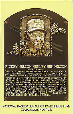 RICKEY HENDERSON -Baseball Hall of Fame- INDUCTION Plaque Postcard- A's-YANKEES