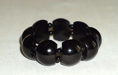 VICTORIAN REVIVAL WHITBY JET STRETCH PANEL BRACELET 23mm WIDE HAND CARVED