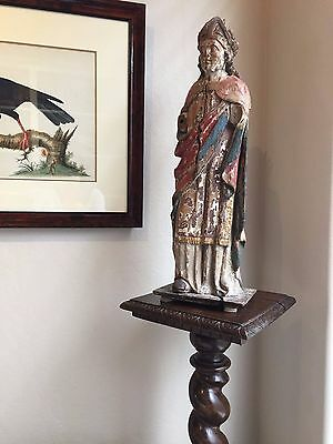 """Antique French Tall Walnut Barley Twist Pedestal, Lamp Or Plant Stand  46"""" H"""