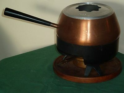 VINTAGE RETRO 1970s COPPER CULINOX FONDUE SET