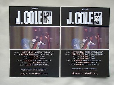 """J. COLE Live in Concert """"4 Your Eyez Only"""" 2017 UK Arena Tour Promo flyers x 2"""