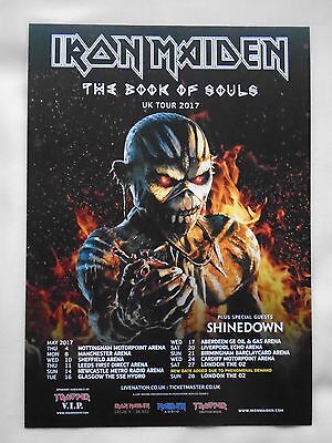 """IRON MAIDEN In Concert """"The Book of Souls"""" 2017 UK Arena Tour Promo flyers x 2"""