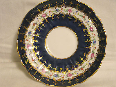 AYNSLEY Saucer Only~COBALT BLUE & GOLD + Tiny Flowers FLORAL~England