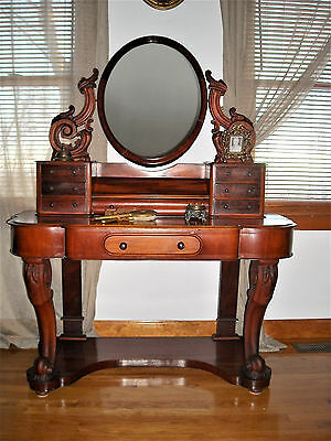 Victorian dressing table with mirror. vanity