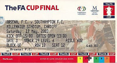 TICKET: FA CUP FINAL 2003 Southampton v Arsenal - EXCELLENT