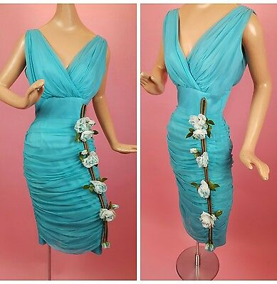 1960s Teal Blue Chiffon Wiggle Dress with Roses Ruched Skirt Cocktail 1950s Vtg