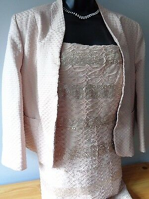 Phase Eight pink lace embellished dress suit & jacket outfit wedding formal 16