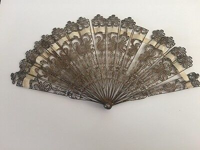 RARE 19th C. CHINESE or RUSSIAN SILVER FILIGREE FAN