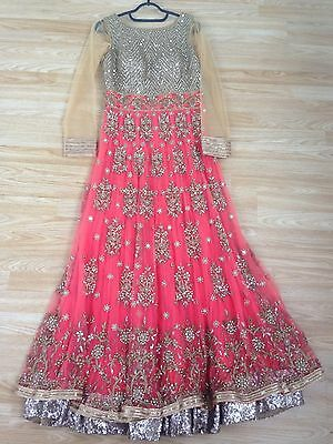 Indian Asian anarkali suit dress gown lehenga lengha lehnga size M UK 10 -12