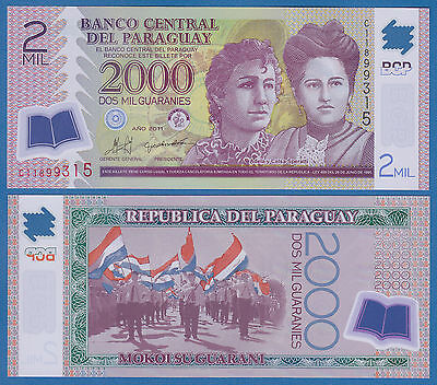 Paraguay 2000 Guaranies  2011 Ucirculated & Crisp Bank Note