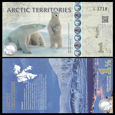 Arctic Territories 1.5 Dollar, Polymer, 2014, Unc Polar Bear,
