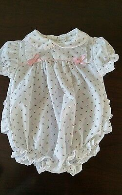 Vintage Baby Girl's Alexis Pink Rosebud Ruffle Romper Shortall~0-3 months