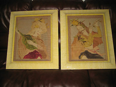 Antique Needlework Textile Art - 2 Framed - Young Ladies Playing Instruments