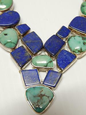 Vintage Mexican Sterling Silver Lapis And Turquoise Necklace - Fabulous Look !