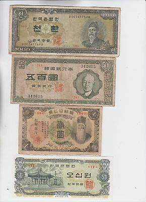 South Korea Paper Money 4 notes low grade and up