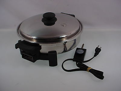 Saladmaster Electric Skillet K7254C Salad Master Frying Pan W-Lid Oil Filled 12""