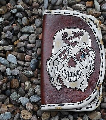 EDDIE BRAT LEATHER  Pirate Anchor  Skull custom leather Herb pouch wallet