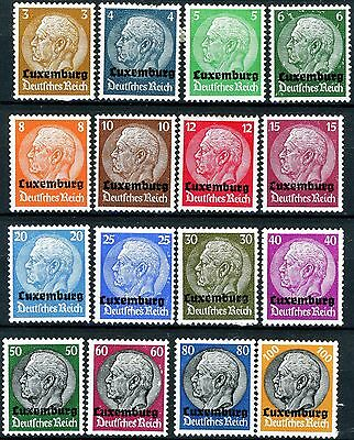 Luxembourg 1940 German Occupation Complete Set of 16 MH Scott's N1 to N16