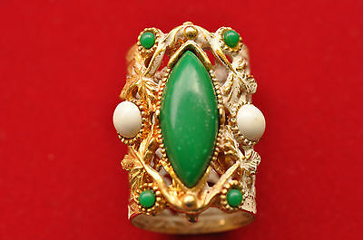Vintage White Washed Gold Tone with Green White Jewels Lipstick Case Cover
