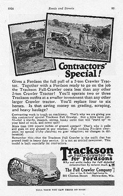 Old 1924 TRACKSON FULL-CRAWLER for Fordson Tractors ad~Full Crawler Co,Milwaukee