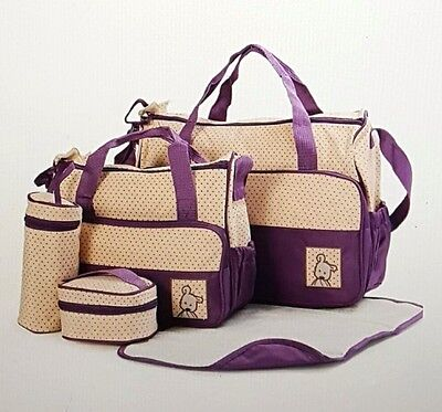 5 Pieces One set Baby Diaper Nappy Women's Handbag Tote Package Diaper Bags