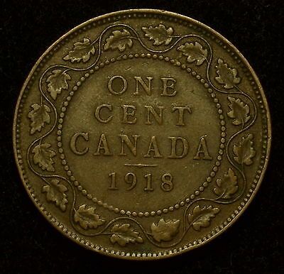 1918 Canada Large Cent King George V Vf You Grade