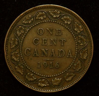 1916 Canada Large Cent King George V  Vf, You Grade  With Free Shipping