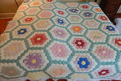 "Vintage Quilt Hand Stitched Grandmother's Flower Garden 88"" By 87"" Cotton"