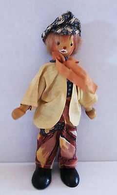 All Orig. Hobo Clown Wood Doll, Unique, Made In Poland, Hand Made, Hand Painted