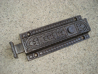 Antique Victorian Eastlake Cast Iron Spring Latch Hardware Ornate Push Button 6""