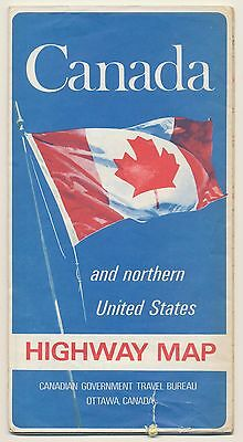 RARE! VINTAGE 1969 CANADA & NORTHERN U.S.  Road Map TRAVEL Petroliana Sign RM43