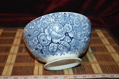 "Antique Flow Blue & Gold Floral Pattern Footed Bowl 7 1/4""x3 5/8"""